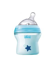 CHICCO Бутылка пластиковая Natural Feeling 150мл. соска силиконовая от 0 месяцев нормальный поток (голубая)
