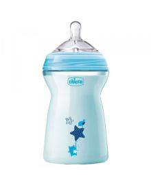 CHICCO Бутылка пластиковая Natural Feeling 330мл. соска силиконовая от 6 месяцев быстрый поток (голубая)