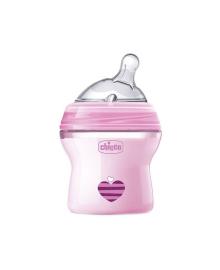 CHICCO Бутылка пластиковая Natural Feeling 150мл. соска силиконовая от 0 месяцев нормальный поток (розовая)