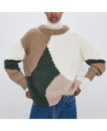 Свитер женский контрастный oversize Coloring Berni Fashion WF-9702