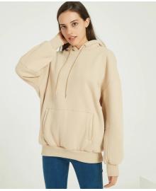Худи женское удлиненное с капюшоном и карманом спереди Sporty style Berni Fashion WF-8239