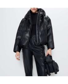 Куртка женская из искусственной кожи с капюшоном Heat Berni Fashion WF-3099