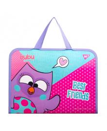 Школьная папка-портфель на молнии с тканевыми ручками YES Bubu 35х26см Розовая (491873) 5056137175987