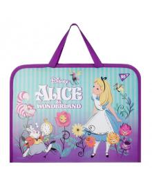 Школьная папка-портфель на молнии с тканевыми ручками YES Alice 35х26см Фиолетовая (491818) 5056137184989