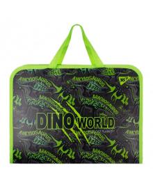 Школьная папка-портфель на молнии с тканевыми ручками YES Dino 35х26см Черный (491790) 5056137188192