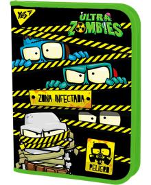Школьная пластиковая папка-портфель на молнии YES FC Zombie 24х34см Зеленая (491802) 5056137199938