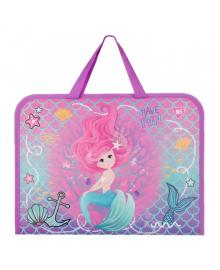 Школьная папка-портфель на молнии с тканевыми ручками YES Mermaid 35х26см Фиолетовый (491821) 5056137184811