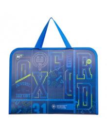 Школьная папка-портфель на молнии с тканевыми ручками YES Oxford 26х35см Синяя (491793) 5056137183784