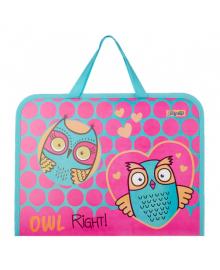 Детская папка-портфель на молнии с тканевыми ручками 1 Вересня Owl 26х35х3см Розовый (491852) 5056137189311