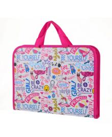 Школьная папка-портфель на молнии с тканевыми ручками YES Be yourself 35х26см Розовая (491596) 5056137198641