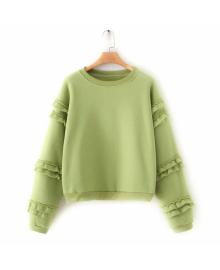 Свитшот женский с широкими рукавами и рюшами Green Berni Fashion WF-9061