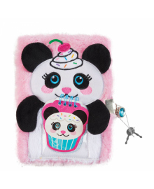 """Пушистый блокнот с замочком и сквишем """"Сладкая панда"""" Make it Real"""