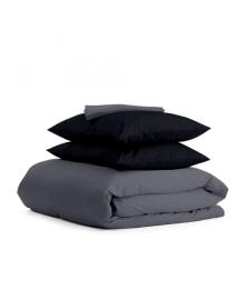 Комплект евро взрослого постельного белья сатин GREY BLACK-P Серый_черный_240_1