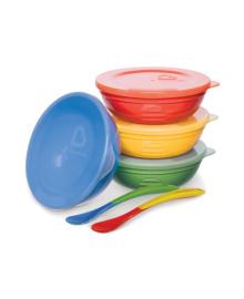 Набор посуды Munchkin из 4 мисок с крышками, плюс 2 ложки