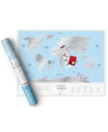 Скретч Карта Світу Travel Map Silver в дизайнерському тубусе 3, 4820148900033