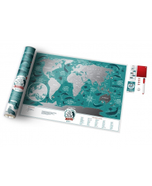 Скретч Карта Світу Travel Map Marine в дизайнерському тубусе 55