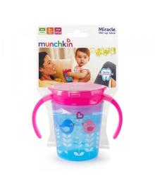 """Чашка непроливна """"Miracle 360 Deco"""" , 177мл.(голубая с розовой крышкой) Munchkin"""