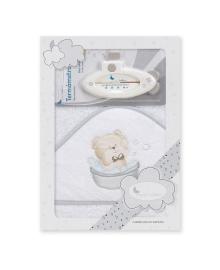 Полотенце с термометром Interbaby Teddy bath white 100x100