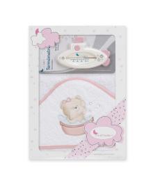 Полотенце с термометром Interbaby Teddy bath pink 100x100