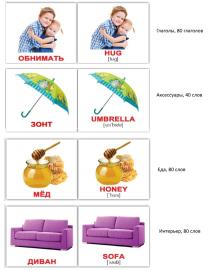 Карточки Домана бытовой английский 420 слов