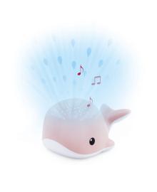 Ночник-Проектор со звуками океана и колыбельными Zazu Кит Wally розовый
