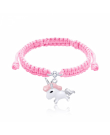 Браслет плетеный Единорог Розовый