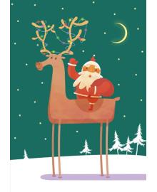 Поздравительная открытка Kinza Дед мороз на олене J010, 4820203761647