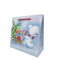 Пакет подарочный ПВ 06110 Мишка с подарками