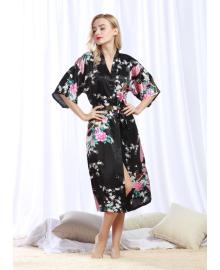 Халат домашний женский Павлин, черный Berni Fashion TZYA-200