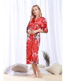 Халат домашний женский Павлин, красный Berni Fashion TZYA-200