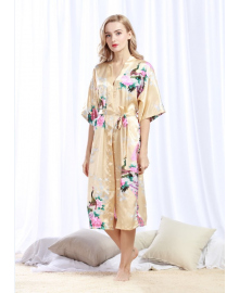 Халат домашний женский Павлин, бежевый Berni Fashion TZYA-200