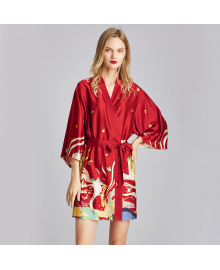 Халат домашний женский Остров фантазий, красный Berni Fashion TZYA-1605