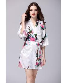 Халат домашний женский Павлин и сакура, белый Berni Fashion TZYA-065