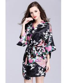 Халат домашний женский Павлин и сакура, черный Berni Fashion TZYA-065