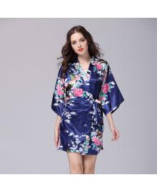 Халат домашний женский Павлин и сакура, синий Berni Fashion TZYA-065