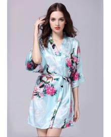 Халат домашний женский Павлин и сакура, голубой Berni Fashion TZYA-065