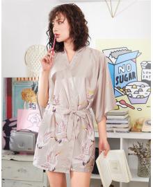 Халат домашний женский Аисты, бежевый Berni Fashion TZYA-990