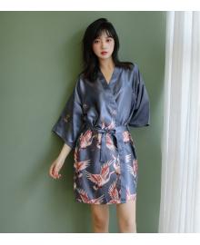 Халат домашний женский Аисты, серый Berni Fashion TZYA-990