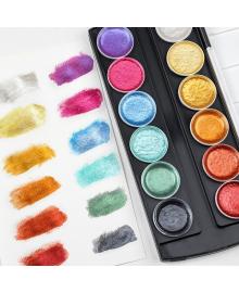 Набор для рисования. Краски  акварельные с перламутром  ( металлик) 12 цветов 1259