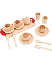 Подарок для детей деревянная детская игрушечная посуда чайный сервиз