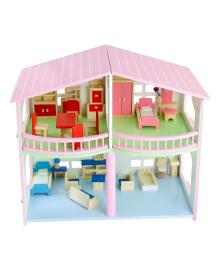 Подарок для детей деревянная игрушка двухэтажный  кукольный домик для девочки аксессуары для кукол