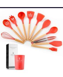 Кухонный набор из 12 предметов Kitchen Art красный с бамбуковой ручкой VIP кухонные принадлежности 10113