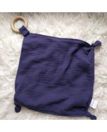 Деревянный эко прорезыватель для зубов и хлопковое синие полотенце 414141