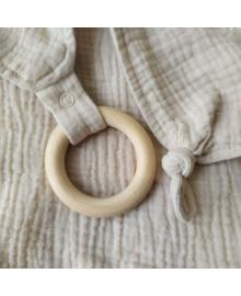Деревянный эко прорезыватель для зубов и хлопковое бежевое полотенце 414145