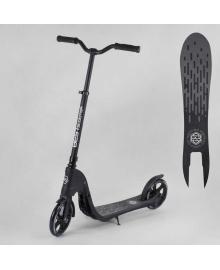 """Самокат двухколесный 72378 """"Best Scooter"""" (2) цвет ЧЕРНЫЙ, колеса PU - 20 см, широкий велосипедный руль, новый зажим руля, в коробке"""