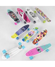 Скейт Пенни борд S 29661 (8) Best Board, 6 видов, ВЫДАЁТСЯ ТОЛЬКО МИКС ВИДОВ колёса PU, СВЕТЯТСЯ, d=4.5 см, доска=55 см