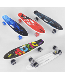 Скейт Пенни борд С 70822 (8) Best Board, ВЫДАЁТСЯ ТОЛЬКО МИКС ВИДОВ, 4 вида, дека с ручкой, подшипники ABEC-7, колеса СВЕТЯЩИЕСЯ PU d=6см