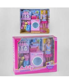 """Кукла 99280 (18) """"Прачечная"""", стиральная машинка, платья, аксессуары, в коробке"""