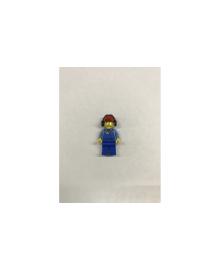 Будівельник в синьому комбінезоні, кепці і навушниках