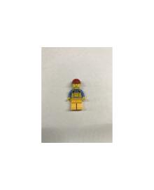 Будівельник в жовтому комбінезоні і блакитний кофті